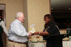 LBHS(322) Bob Guice, Yvonne Thornton awarding cookies for the newest grand child (grand son is 3 days old - born 08/05/2