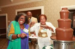 LBHS(340) Beverly Gordon, Carl Jennings & Helen Jones at the Chocolate Fountain